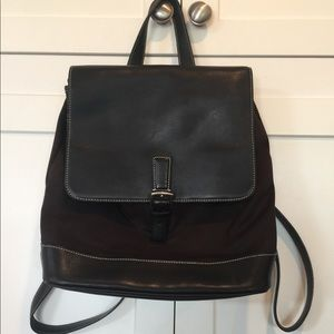 Coach Black Canvas and Leather Backpack